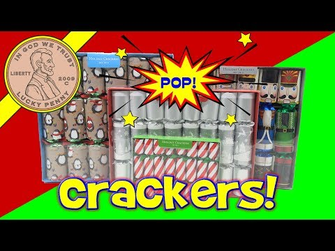 English Holiday Christmas Crackers - We Pop Over 20 - Penguin Game - Puzzles - Jokes & Hats!