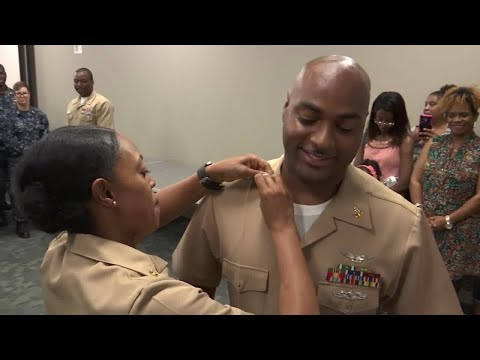 Navy Husband, Wife Both Promoted To Senior Chief Petty Officers