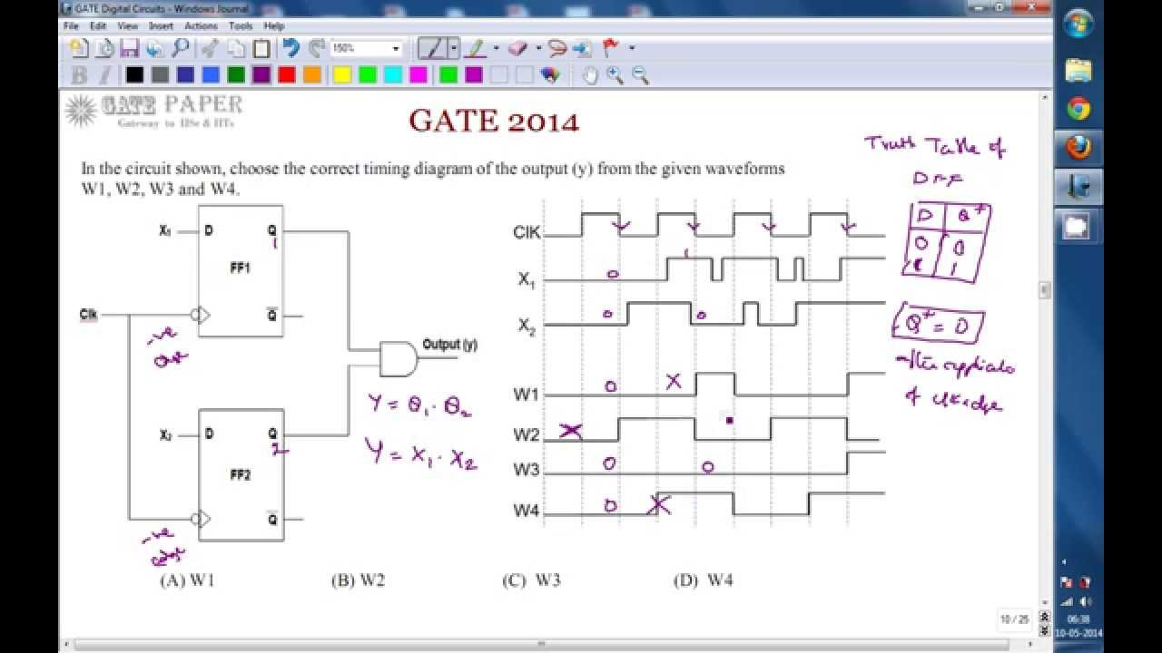 gate 2014 ece sequential circuit with d flip flops timing diagram [ 1280 x 720 Pixel ]