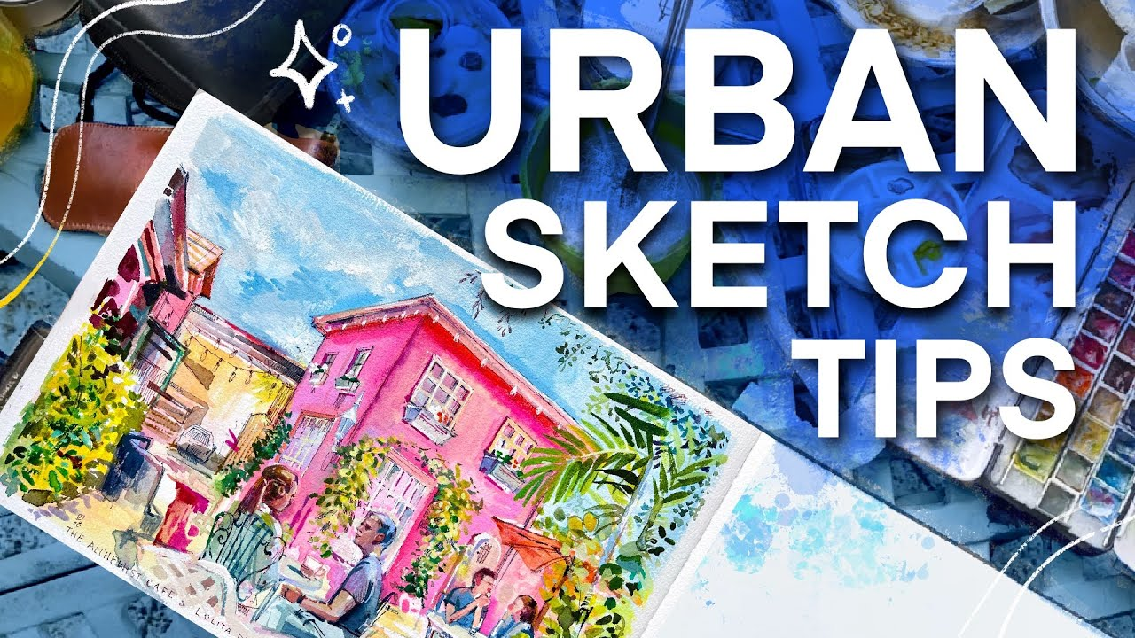 5 Urban Sketching Tips | Gouache Painting at a Coffee Shop