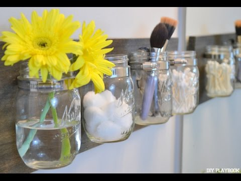 How To DIY A Mason Jar Organizer   YouTube