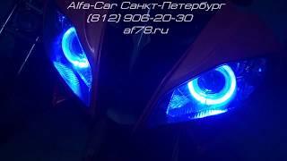 Yamaha R6 биксеноновые линзы + ангельские глазки (GD-RGB)(Управление кольцами с пульта на расстоянии до 15 метров. 30 режимов работы с изменением цвета., 2015-12-23T09:07:31.000Z)