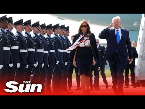 President Donald Trump lands in London for UK state visit