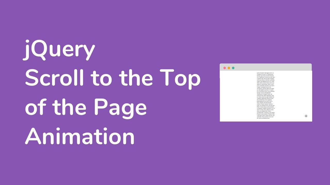 【jQuery】Scroll to the Top of the Page Animation
