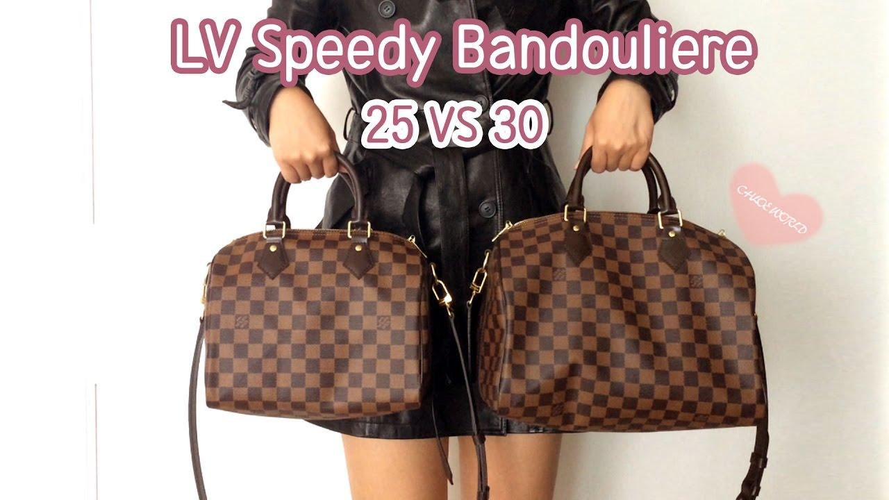 49be9cd50b5 Louis Vuitton Speedy B 25 VS 30 Comparison, Speedy Bandouliere 25,  Bandouliere 30,Mod Shots