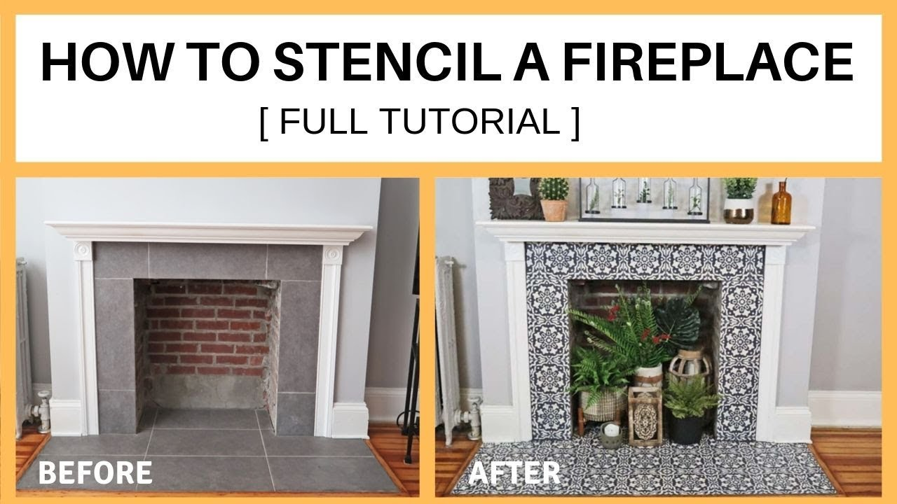 how to stencil a fireplace full tutorial