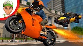 Motorcycle runs away from police. Kids Police Car Cartoon. Race Car Cartoons for kids. Car kids ride