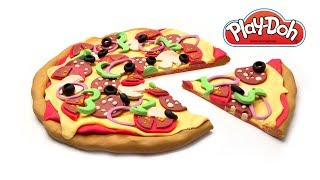 Play Doh Pizza Hut How to Make Supreme Pizza out of Play-Doh Clay. Toy Food Tutorial. Video for Kids
