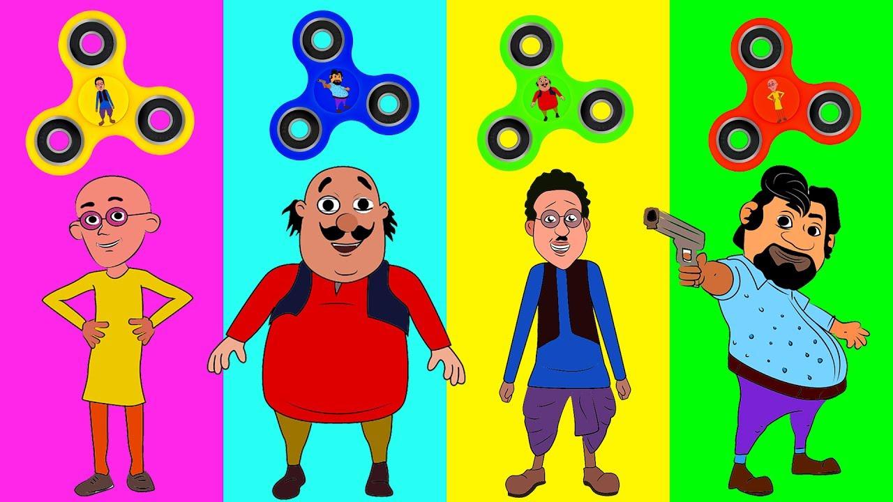 Learn Colors Motu Patlu Fidget Spinner Trolls Chingam Ghasitaram