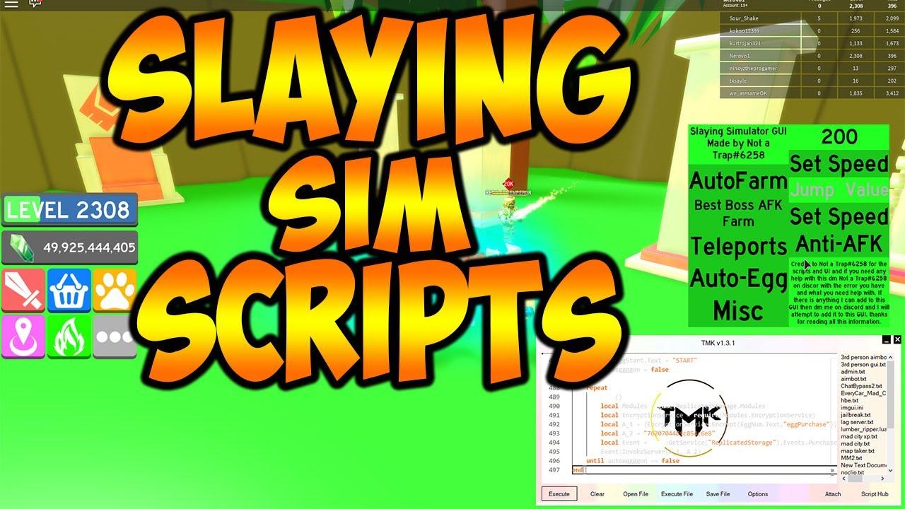 [NEW!]Roblox Exploit/Script| MAX level |⚔️ Slaying Simulator| Infinite eggs  and one hit boss