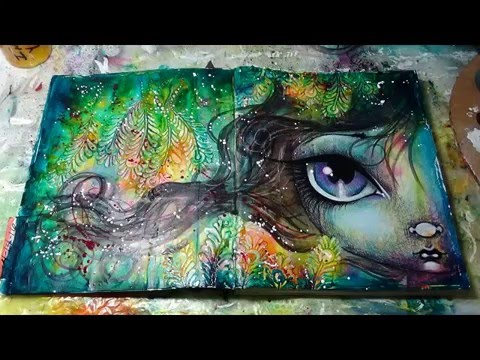 mixed media art journal page tutorial by Megan K  Suarez 4-14-16