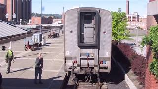 Rare - Coupling (Joining) Amtrak Empire Builder Seattle (8) to Portland (28) in Spokane (2017)