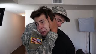 SOLDIER SURPRISES BEST FRIEND!!