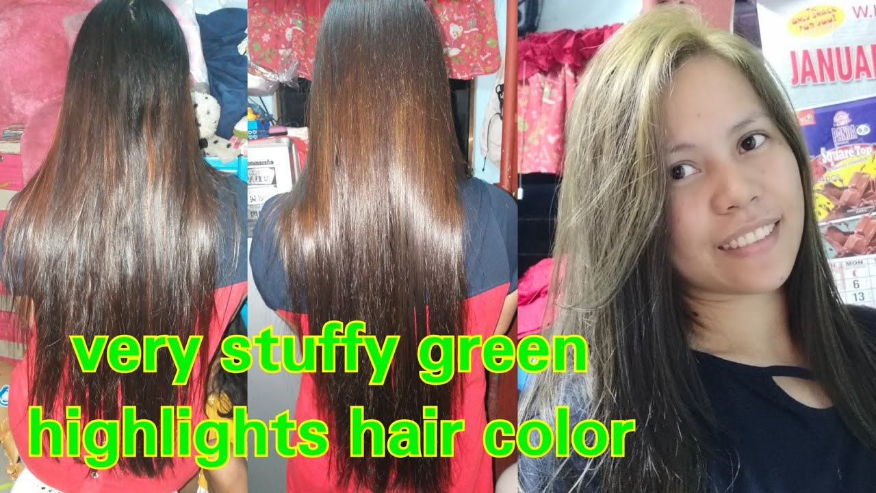 My New Hair Color Very Stuffy Green Hair Color Highlights Youtube