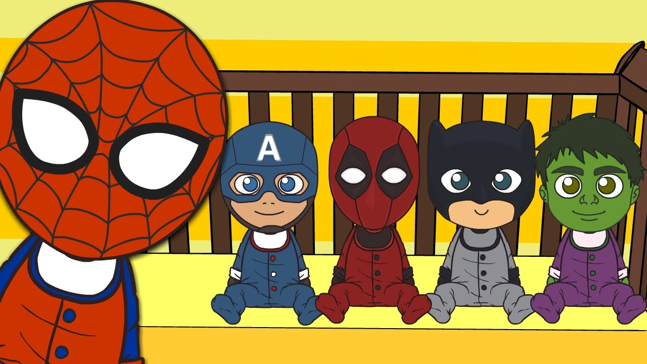 Super Heroes Animados Niños: CINCO SUPERHÉROES 🌟 Spiderman Capitán América