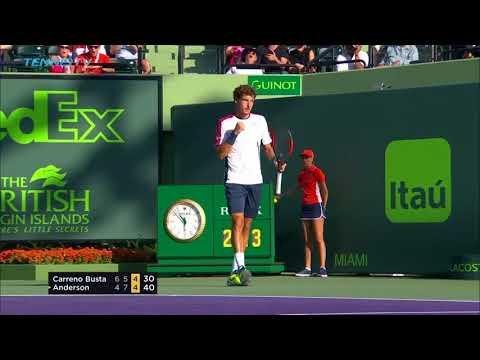 Carreno Busta vs Anderson: Best Shots & Winning Moment | Miami Open 2018 Quarter-Final