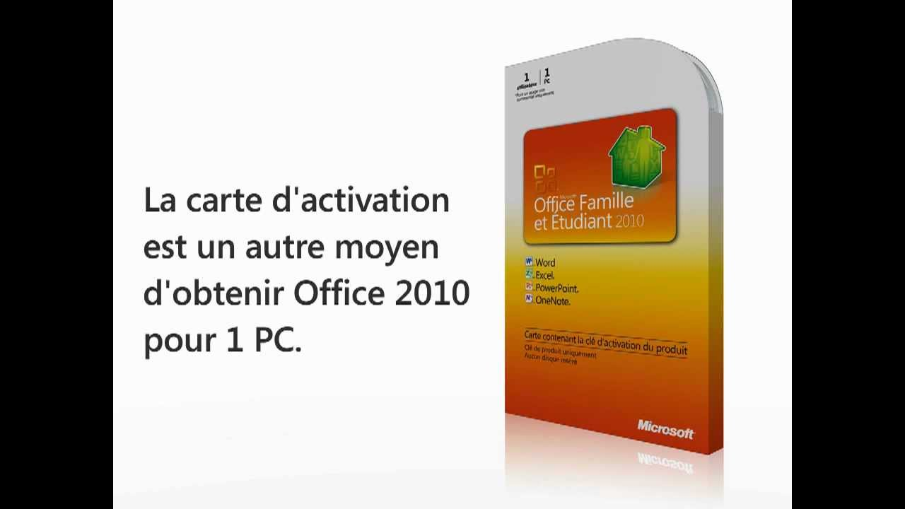 carte d 39 activation office famille et etudiant 2010 youtube. Black Bedroom Furniture Sets. Home Design Ideas