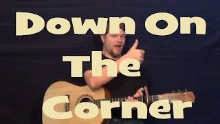 Down on the Corner (CCR) Easy Strum Guitar Lesson Chords Lick How to Play Down on the Corner