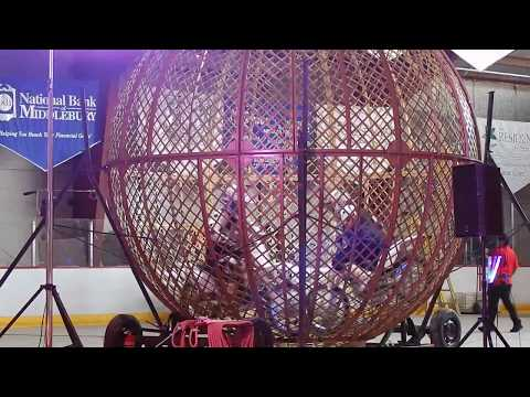 Globe of Death Motorcycle Stunt Riders at Garden Bros Circus on 5/16/18 (55 seconds long)