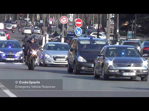 Police Motorcade French Prime Minister Valls