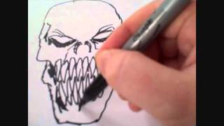 Skull Art Drawing - See A Demon Skull Appear Before Your Eyes