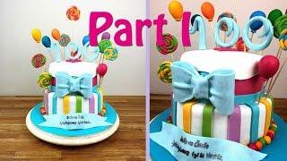 Part I Candy Fondant Torte: Lollipops, Luftballons, Schleife, Zahlen