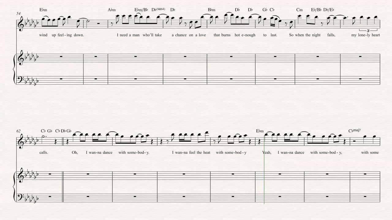 Oboe I Wanna Dance With Somebody Whitney Houston Sheet Music