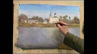 Скит на Клязьме. Андрияка С.Н. (ускоренный видеоурок) акварель watercolor