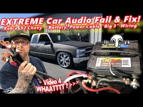 """Extreme Car Audio FAIL & Fix - """"Bucket o' BASS"""" Chevy - Battery, Power Cable, & Door Panels Video 4"""
