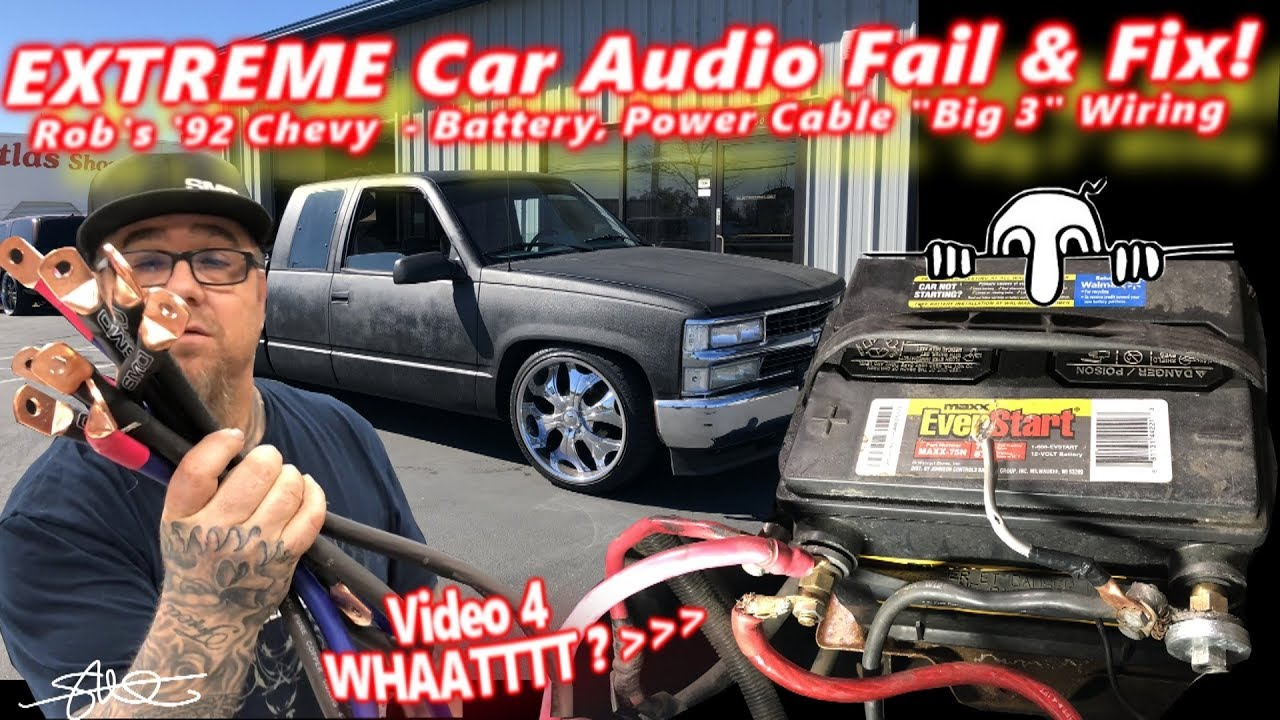 medium resolution of extreme car audio fail fix bucket o bass chevy battery power cable door panels video 4