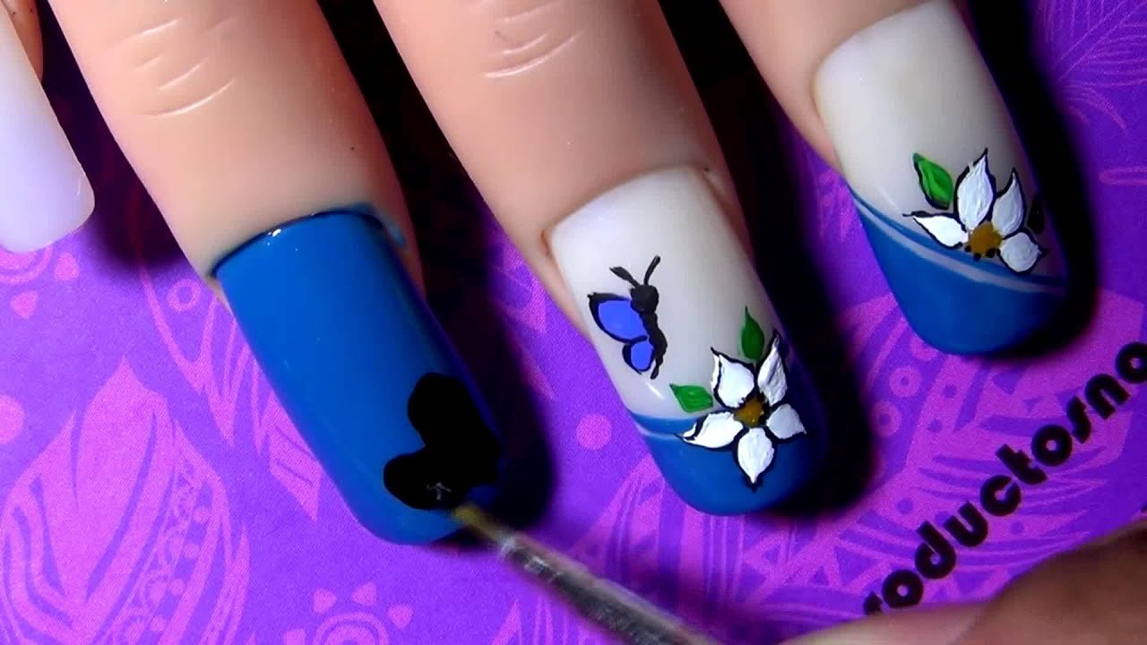 Decorado Para Uñas Decorado De Uñas Azul Blue Decoration Nail Tutorial Yana1