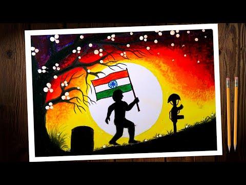 Kargil Vijay diwas poster/chart drawing. Indian independence day chart/poster drawing tutorial.