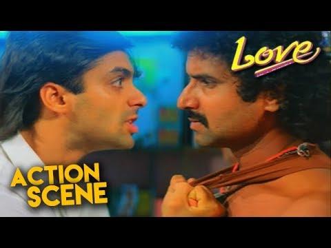 Salman Khan Action Scene   Love Hindi Movie   Revathi, Amjad Khan   HD1080p