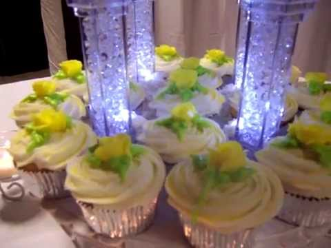 3 - Tier Wedding Cake, with cupcakes, yellow theme. Pillars light up ...