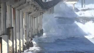 Big Waves Hit the Ocean Beach Pier