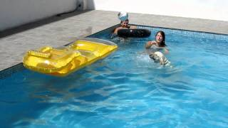 Labrador Retriever Jumping Into The Swimming Pool, Playing With Almudena