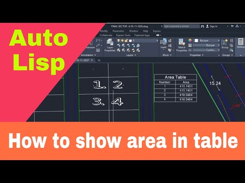 How to Create Area Table With Autolisp.