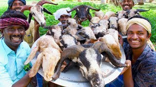 KING of GOAT HEAD CURRY | Goat Heat Recipe Cooking in Village by Villagers | Tasty Village Food