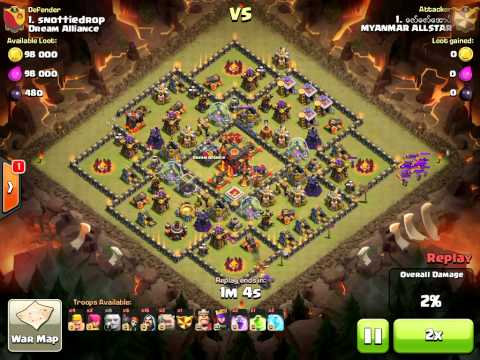 Clash of Clans (MYANMAR ALLSTAR vs Dream Alliance) Gowiwi Attack!