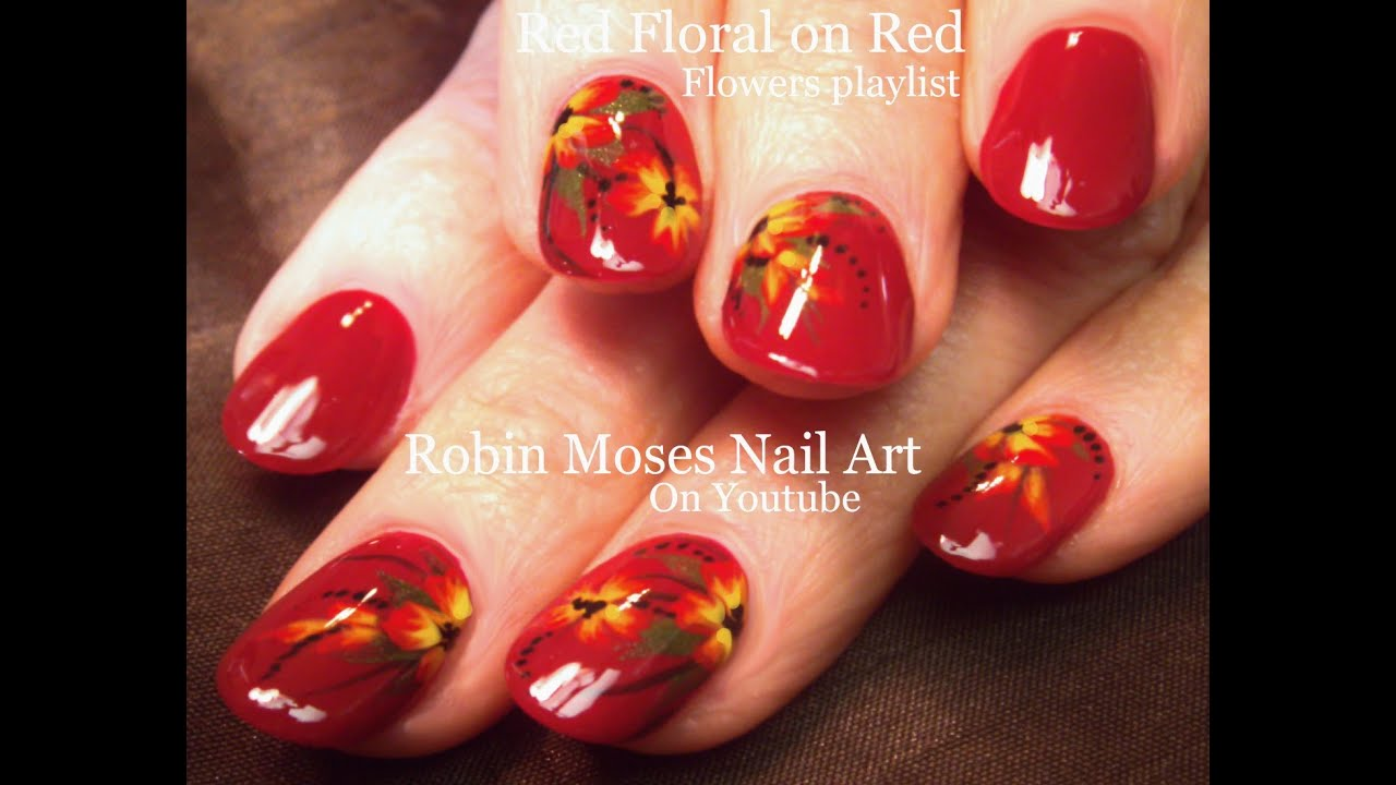 Easy diy red flower nail art youtube easy diy red flower nail art dhlflorist Image collections