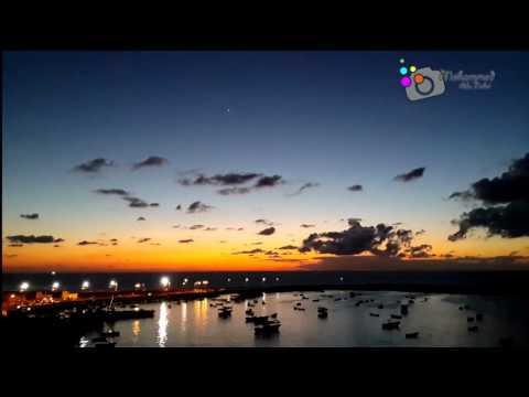 غروب الشمس  في مناء غزة Sunset in the port of Gaza Time lapse