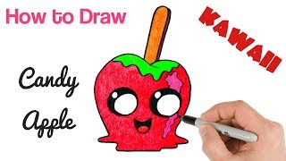 How to Draw Candy Apple Cute Kawaii Drawing for Halloween
