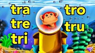 sílabas tra tre tri tro tru el mono sílabo videos infantiles educación para niños