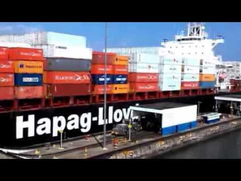 Panama canal Gatun Locks Container ship Hapag-Lloyd