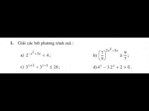 Giải bài tập 1 trang 89 sgk Giải Tích 12 (Toán 12 - Chương 2 - Bất phương trình mũ)
