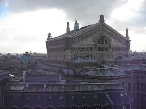 View of Palais Garnier Opera House from rooftop patio of Galeries Lafayette