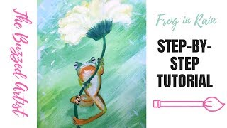 COLORFUL FROG IN THE RAIN   Acrylic Painting for Beginners
