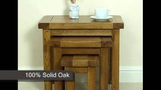 Cotswold Rustic Solid Oak Nest Of 3 Tables
