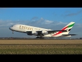 Emirates A380 A6-EUD Windy takeoff from Schiphol.Int