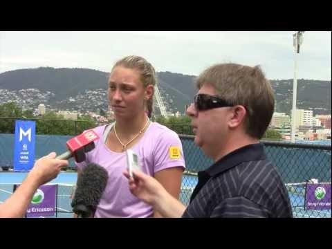 Yanina Wickmayer speaks to media: Moorilla Hobart International 2012